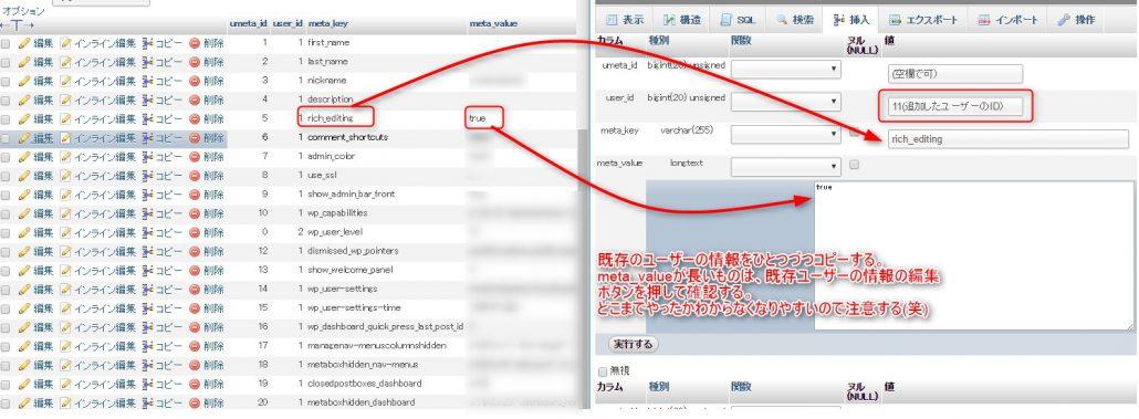 wp_usermetaテーブルに、ユーザー情報を追加