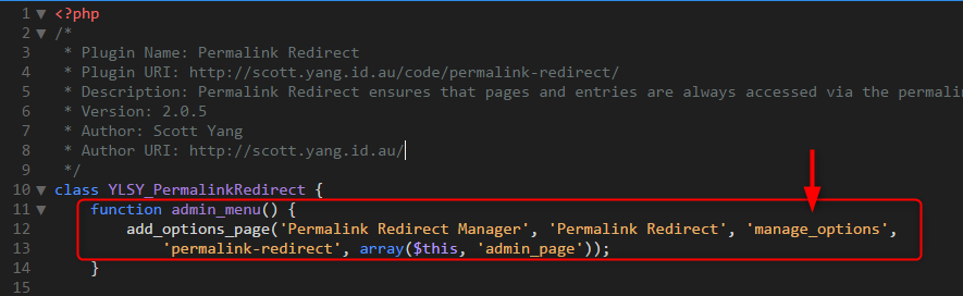 Permalink Redirectのadd_options_pageの第3引数を5からmanage_optionに変更