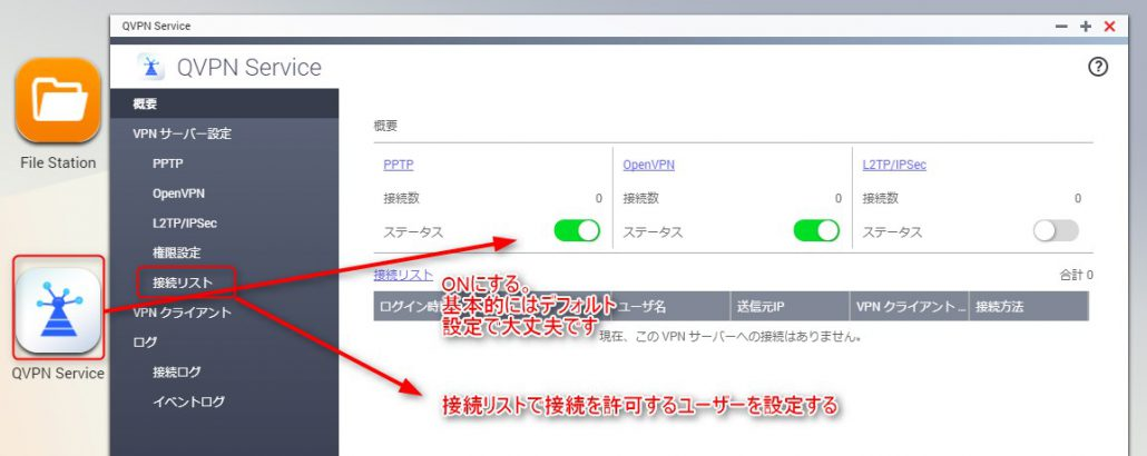 App Center より、「QVPN Service」をインストール。各機能を有効化します。