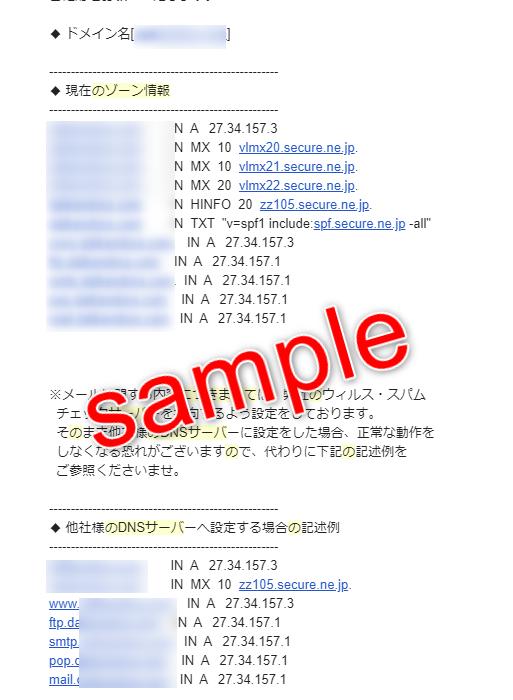 DNSゾーン情報