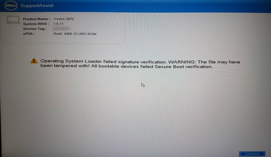 Dellのエラー画面。Operating System Loader faild signature verification.WARNING: The file may have been tampered with! All bootable devices failed Secure Boot verification.