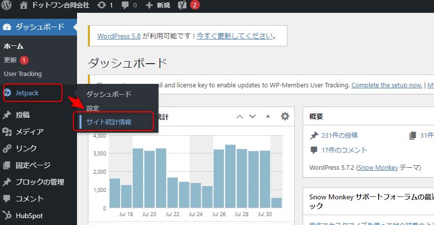 wordpressのダッシュボードより、Jetpack>サイト統計情報をクリック